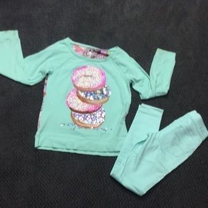 JUSTICE girls donut shirt & matching pants 10